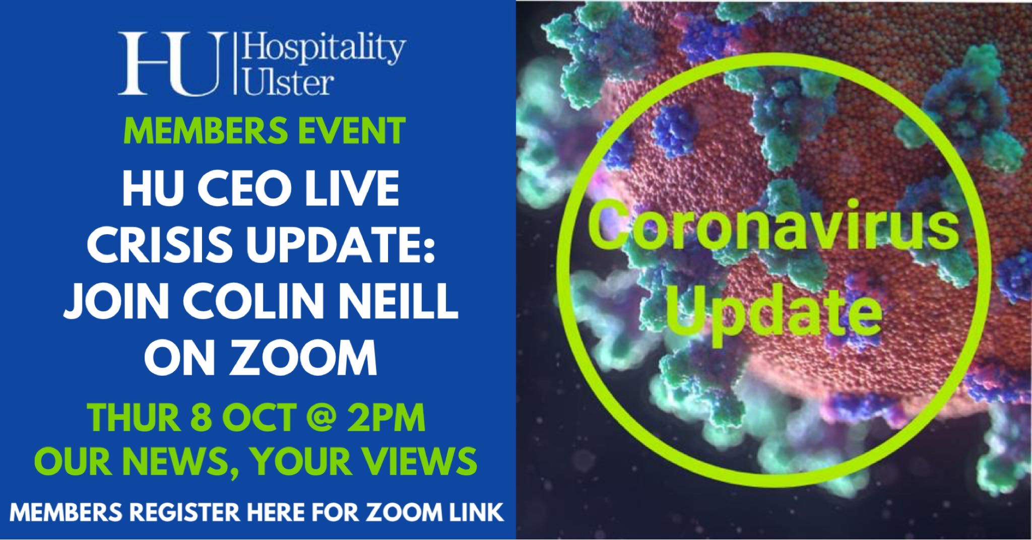 HU MEMBERS ZOOM WITH CEO COLIN NEILL ON THURSDAY 8TH OCT