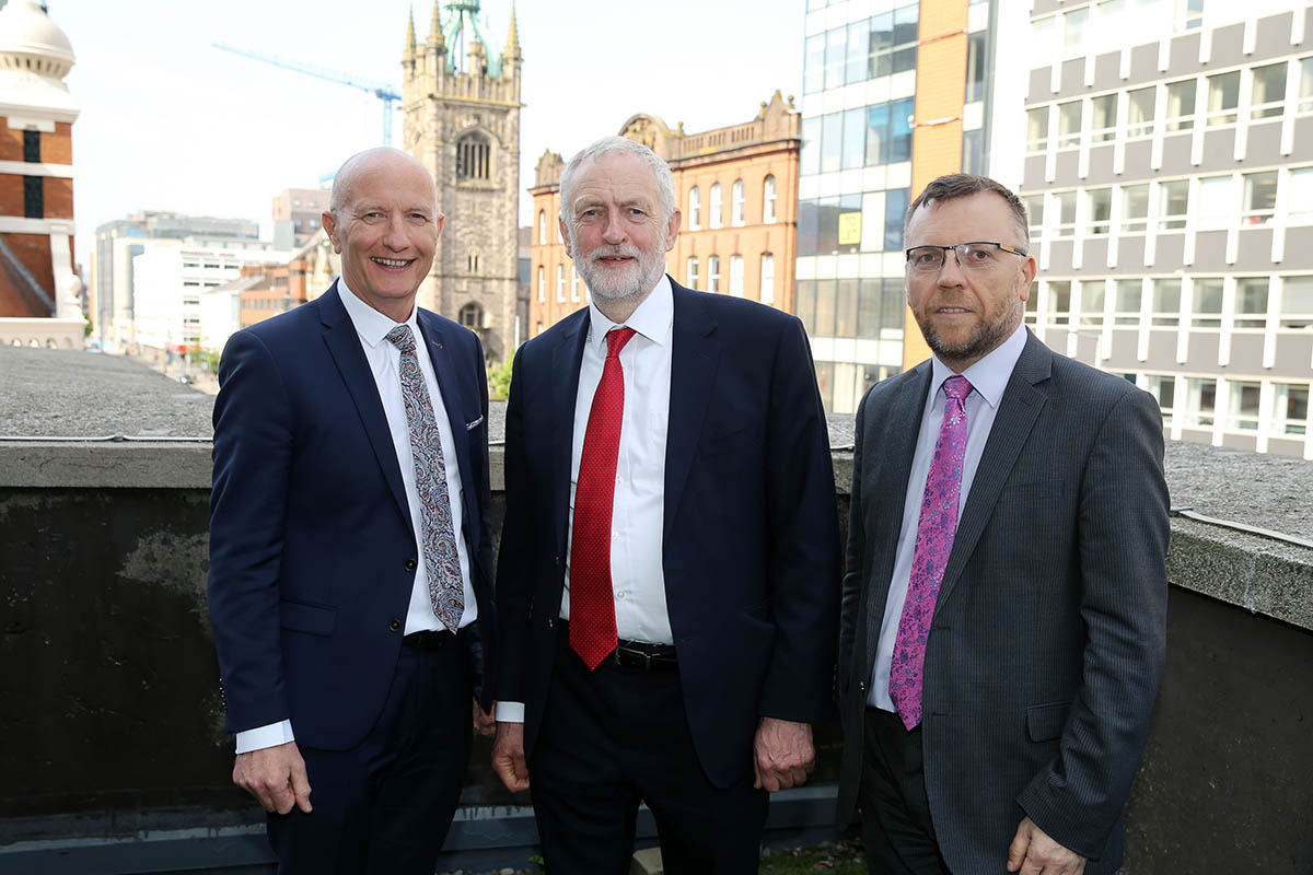 HU MEETS LABOUR LEADER JEREMY CORBYN DURING NI VISIT